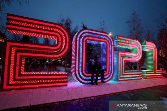 Taman berhias warna-warni sambut tahun baru di Moskow