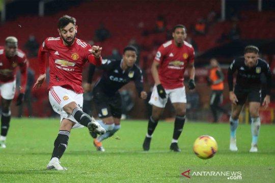 Penalti Bruno Fernandes bawa MU menang 2-1 atas Aston Villa