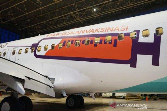 Dukung vaksinasi COVID, Garuda cat badan pesawat bergambar alat suntik