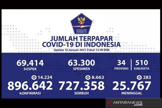 Data Kemenkes, positif COVID-19 di Indonesia bertambah 14.224 kasus
