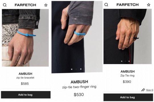 "AMBUSH jual aksesori mirip ""zip tie"" Rp8 jutaan"