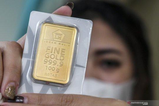 Harga emas Antam turun