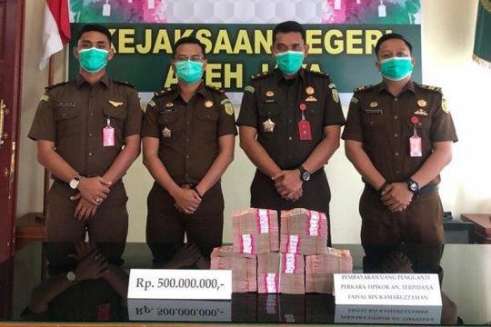 Terpidana korupsi di Aceh kembalikan uang negara Rp500 juta