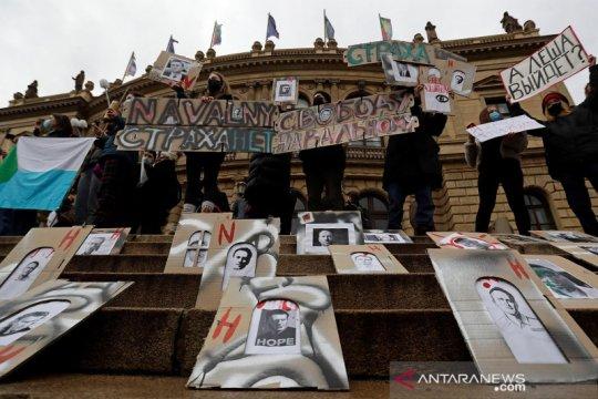 Unjuk rasa mendukung pemimpin oposisi Rusia Alexei Navalny