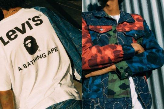 Gaya streetwear modis kasual, kolaborasi Levi's dan A Bathing Ape