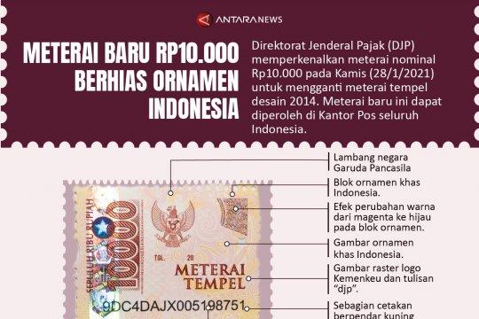 Meterai baru Rp10.000 berhias ornamen Indonesia