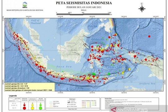 BMKG catat 646 kali gempa bumi sepanjang Januari 2021
