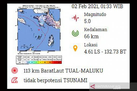 Kota Tual-Maluku diguncang gempa berkekuatan magnitudo 5