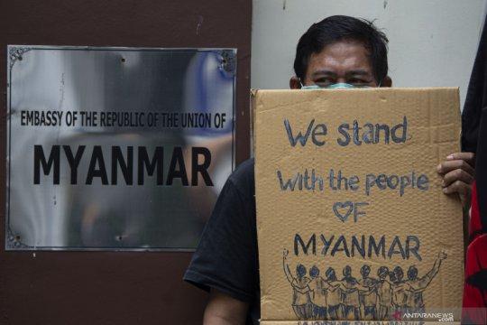 Unjuk rasa kecam kudeta militer Myanmar