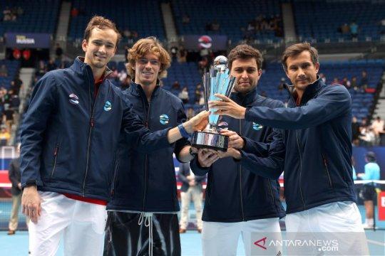 Duet perdana petenis Rusia Rublev/Karatsev juarai Qatar Open 2021