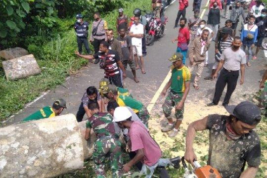 Prajurit TNI bersihkan pohon tumbang di jalan perbatasan RI-PNG