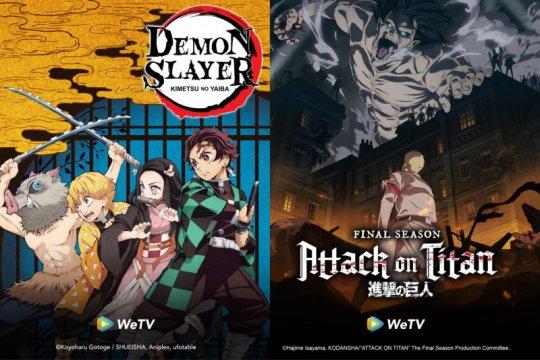 """""""Demon Slayer"""" dan """"Attack on Titan"""" hadir gratis di WeTV"""