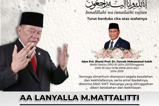 Ketua DPD sampaikan duka cita atas wafatnya Prof Farouk