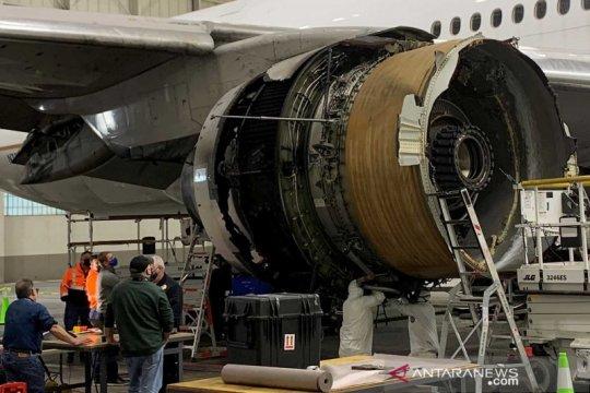 Kondisi pesawat United Airlines UA328 pasca insiden mesin terbakar
