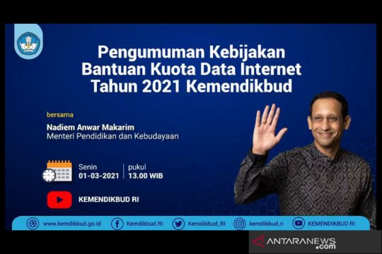 Mendikbud berikan bantuan kuota internet tahun 2021