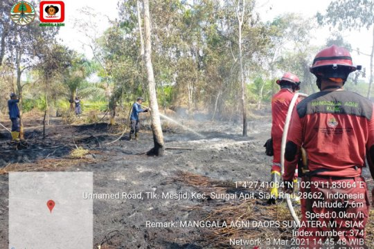 Kebakaran lahan kembali terjadi di Sungai Ampit Siak