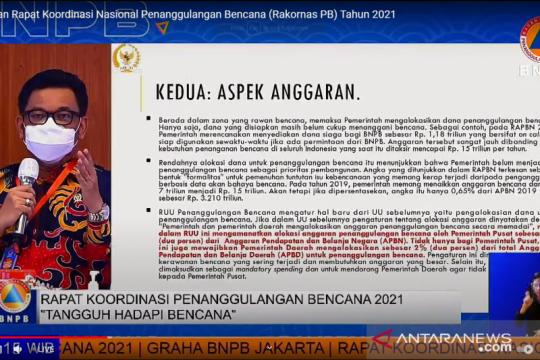 RUU Penanggulangan Bencana atur alokasi anggaran dua persen dari APBN