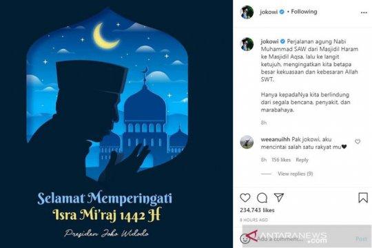Jokowi: Perjalanan agung Nabi Muhammad wujud besarnya kekuasaan Allah