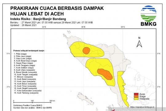 BMKG: Tujuh kabupaten di Provinsi Aceh siaga potensi banjir