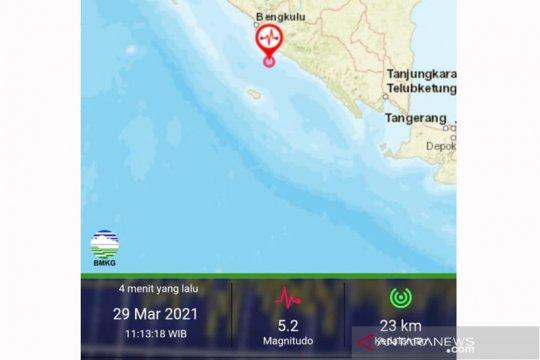 Gempa bumi magnitudo 5,2 guncang Bengkulu