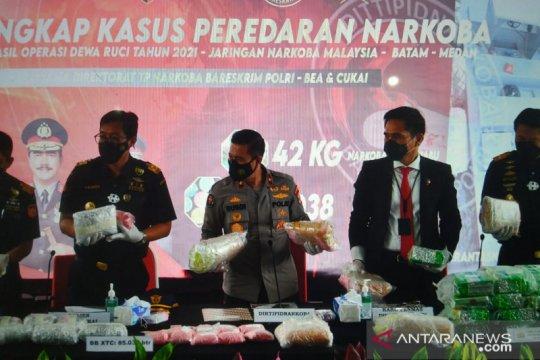 Polri-BC ungkap peredaran narkoba jaringan Sumatera-Malaysia