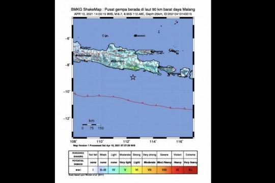 BMKG: Gempa di barat daya Malang akibat adanya aktivitas subduksi
