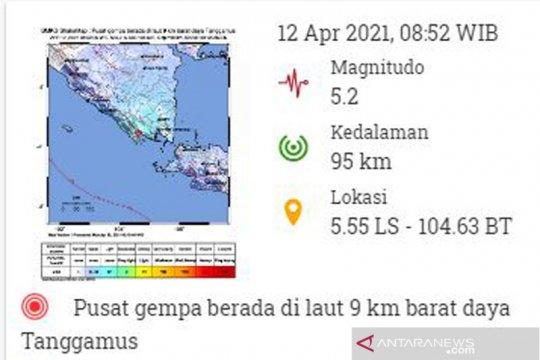 Gempa magnitudo 5,2 guncang Lampung
