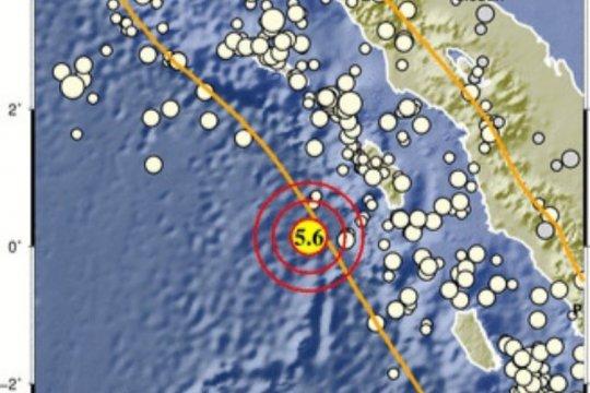 Nias Barat diguncang gempa magnitudo 5,5