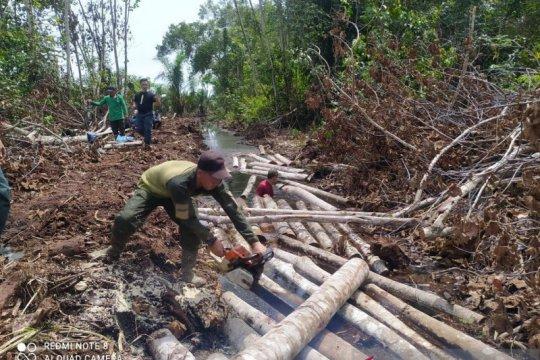 BBKSDA Riau musnahkan ratusan kayu pembalakan liar Giam Siak Kecil