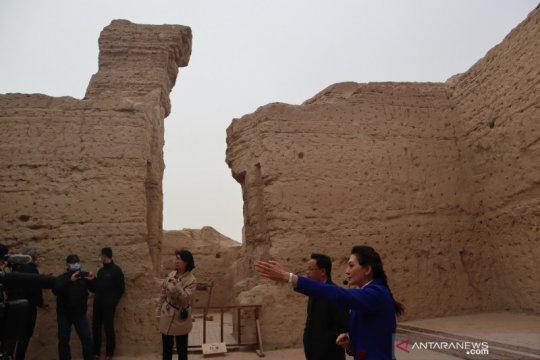 Situs bekas pusat Ibu Kota Kerajaan Jushi di Xinjiang, China