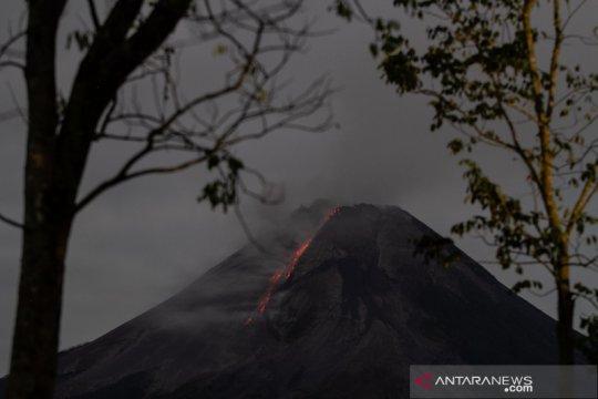 Merapi meluncurkan awan panas dan lava pijar ke barat daya