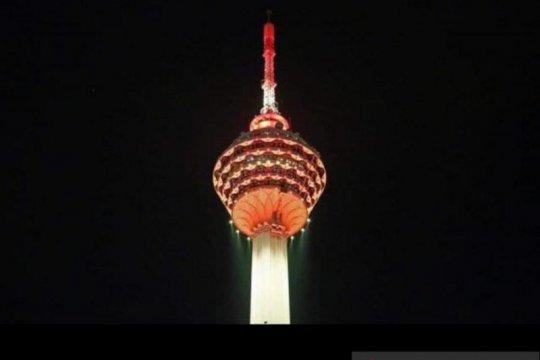 Sejumlah gedung di Malaysia nyalakan lampu merah putih
