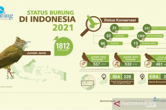 Jenis burung di Indonesia bertambah 18 jenis