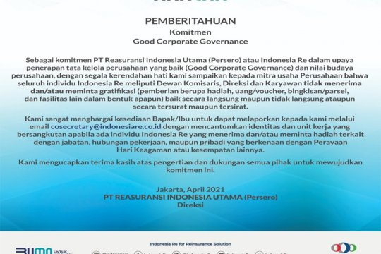 Indonesia Re tegaskan komitmen antisuap