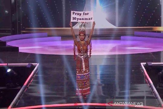 Momen saat Miss Universe Myanmar tebarkan pesan keprihatinannya atas kudeta militer di negaranya