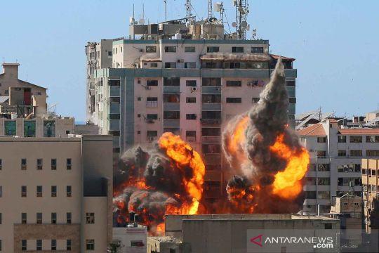 Serangan udara Israel hancurkan Gedung Al-Jalaa