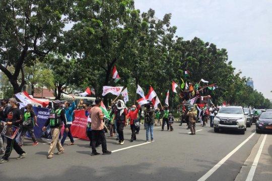 Aksi bela Palestina, ratusan personel jaga kawasan Kedubes AS