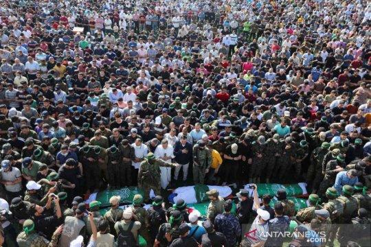 Suasana pemakaman warga Palestina pascagencatan senjata Israel-Hamas