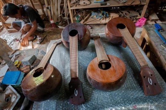 Kerajinan gitar ukulele dari kulit buah berenuk