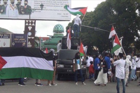 Aksi damai muslim Kota Ambon untuk Palestina