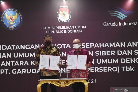 KPU jalin kerja sama dengan PT Garuda Indonesia dan BSSN