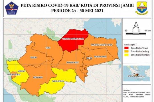 Satgas: Tanjung Jabung Barat zona merah COVID-19, Kota Jambi oranye
