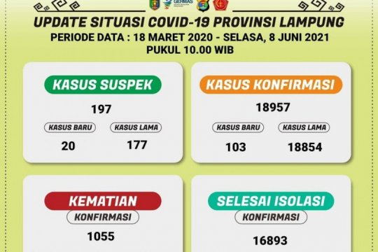 Lampung catat 103 tambahan pasien COVID-19 total jadi 18.957 kasus