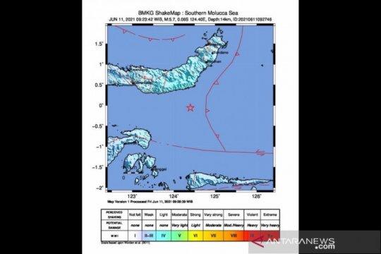 Aktivitas subduksi Sangihe sebabkan gempa magnitudo 5,7 di Sulut