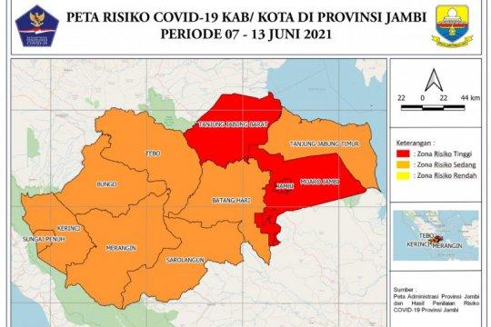 Tiga daerah di Provinsi Jambi masih zona merah COVID-19