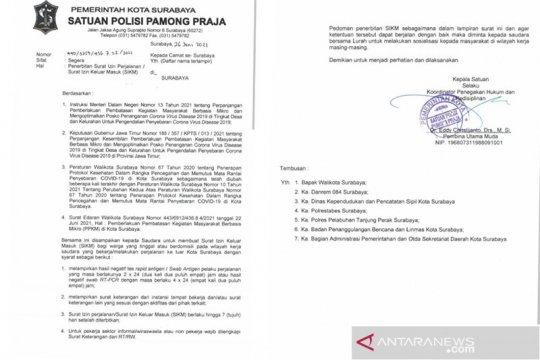 Warga beraktivitas ke luar masuk Surabaya diwajibkan urus SIKM