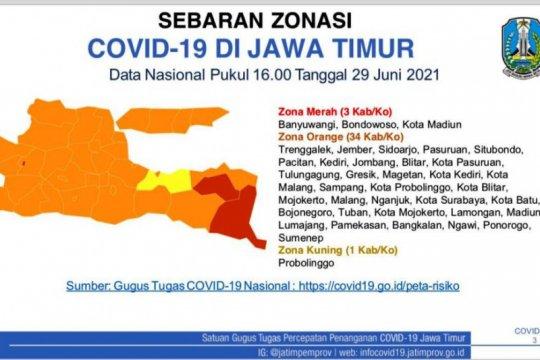 Satgas: Zona merah Jatim geser ke Banyuwangi, Bondowoso, Kota Madiun