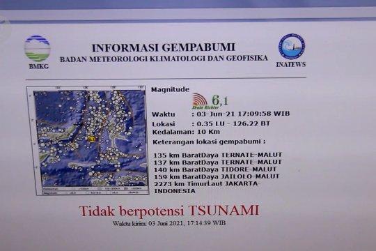 Gempa magnitudo 6,1 Maluku Utara, tidak berpotensi tsunami