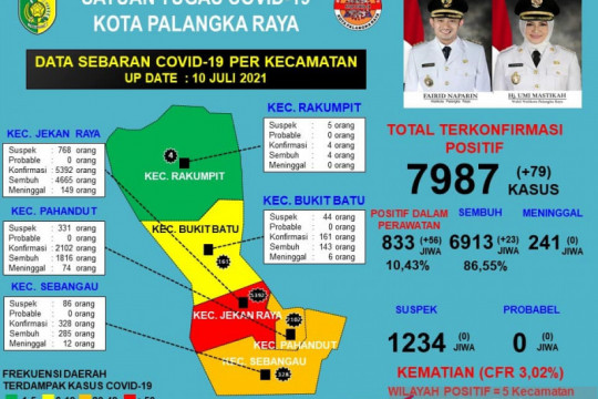 Tambah 23, kasus sembuh dari COVID-19 di Palangka Raya jadi 6.913