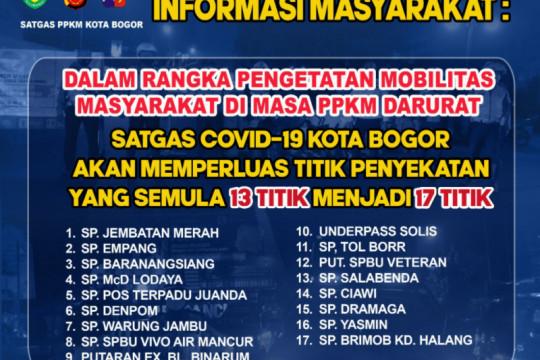 Polresta Bogor Kota menambah penyekatan jadi 17 lokasi